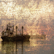 Spooky Scene Posters - Ship at Anchor Poster by Skip Nall