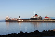 Duluth Art - Ship at lake superior MN by Lori Tordsen