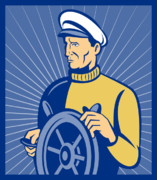 Explorer Posters - Ship Captain At The Helm  Poster by Aloysius Patrimonio