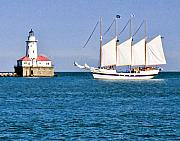 Lighthouse Digital Art Originals - Ship in Chicago Harbor by Paul Bartoszek