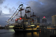 Stormy Night Prints - Ship in the Bay Print by David Lee Thompson