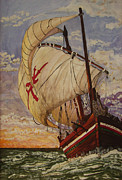 Lively Colors Prints - Ship on a Tossing Sea Print by Joy Braverman