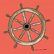 Red Art Drawings Posters - Ship Wheel Poster by Karl Addison