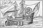 Sea Swell Prints - Ship With Gimballed Chair, 16th Cent. Print by Middle Temple Library