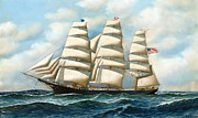 Lost At Sea Framed Prints - Ship Young America at Sea Framed Print by Pg Reproductions