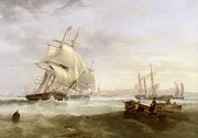 Ship Rough Sea Framed Prints - Shipping off Hartlepool Framed Print by John Wilson Carmichael