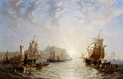 Harbor Paintings - Shipping off Scarborough by John Wilson Carmichael