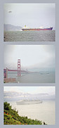 Bay Bridge Mixed Media Metal Prints - Shipping Triptych - San Francisco Bay Metal Print by Steve Ohlsen