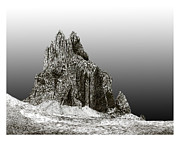Mountain Drawings Prints - Shiprock Mountain Four Corners Print by Jack Pumphrey