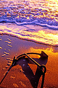 Sunset Photo Prints - Ships anchor on beach Print by Garry Gay