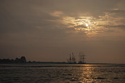 Tall Ships Prints - Ships at Dawn Print by Terri Oberg
