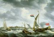 Ocean Scenes Posters - Ships at Sea  Poster by Bonaventura Peeters