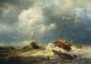 Boats On Water Prints - Ships In A Storm On The Dutch Coast Print by Andreas Achenbach