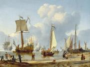 Sailboats In Water Painting Posters - Ships in Calm Water with Figures by the Shore Poster by Abraham Storck