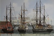 Masted Ship Paintings - Ships in Harbor by George E Lee