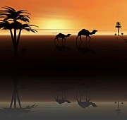 Silhouettes Digital Art Prints - Ships of the Desert Print by David Dehner