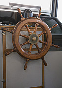 Wooden Ship Posters - Ships Steering Wheel Poster by Andersen Ross