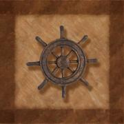 Square Art - Ships Wheel by Tom Mc Nemar
