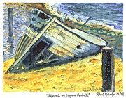 Modernism Painting Framed Prints - Shipwreck On Laguna Madre II Framed Print by Robert Wolverton Jr