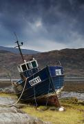 Beached Photos - Shipwrecked Boat In Loch Sunart by John Short