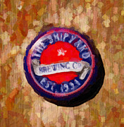 Longfellow Paintings - Shipyard Bottle Cap by David Renner