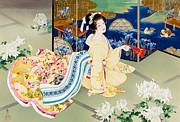 Fan Metal Prints - Shiragiku Metal Print by Haruyo Morita