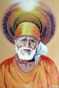 Baba Painting Posters - Shirdi Sai Baba Paintings Poster by Anju Rastogi