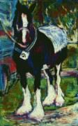 Rally Pastels Posters - Shire Horse at Abergavenny Rally Poster by Judy Adamson