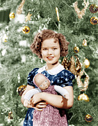 Incol Posters - Shirley Temple Holding Doll Poster by Everett