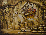 Bull Paintings - Shiva Parvati Ganesha by Vrindavan Das