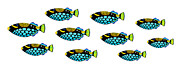 Triggerfish Painting Posters - Shoal of Clown Triggerfish  Poster by Opas Chotiphantawanon