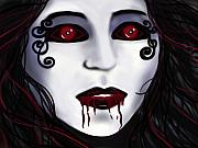 Dracula Digital Art Metal Prints - Shock At First Bite Metal Print by Roxy Riou