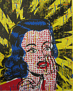 Linoleum Posters - Shocked in Four Colors Poster by Andrew Wales