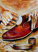 Hand Crafted Paintings - Shoe care by Mrutyunjaya Dash