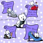 West Highland Terriers Posters - Shoe Diva Westies Poster by Kim Niles