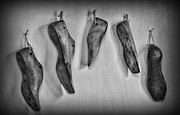 Shoe Prints - Shoe - wooden shoe form - black and white Print by Paul Ward