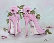 Pink Shoes Framed Prints - Shoes and Roses Framed Print by Gail McCormack