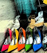 Yellow Mixed Media Metal Prints - Shoes Metal Print by Gary Everson