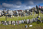 Tennis Shoe Art - Shoes Hanging on Fence by Jacobs Stock Photography