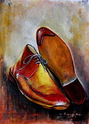 Hand Crafted Paintings - Shoes in Making by Mrutyunjaya Dash