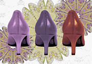 Digital Art Of High Heels Metal Prints - Shoes in muted shades Metal Print by Maralaina Holliday