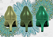 Prints Of Fashion Posters - Shoes in shades of Green Poster by Maralaina Holliday