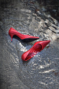 Red Shoe Framed Prints - Shoes In Water Framed Print by Joana Kruse