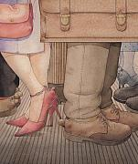 Metro Drawings Metal Prints - Shoes Metal Print by Kestutis Kasparavicius