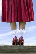 Red Skirt Posters - Shoes On Wooden Board Poster by Joana Kruse