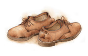 Brown Drawings Metal Prints - Shoes02 Metal Print by Kestutis Kasparavicius