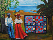 Gullah Art Framed Prints - Shoofly Quilt Framed Print by Diane Britton Dunham