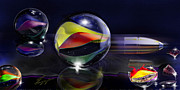 Marbles Paintings - Shooting Marbles by Reggie Duffie