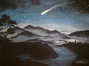 Snowy Night Painting Framed Prints - Shooting Star  Framed Print by Irina Astley