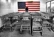 Grocery Store Framed Prints - Shop Carts Framed Print by Bennie Reynolds